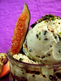Fig & rosewater ice cream with crushed pistachios & chocolate