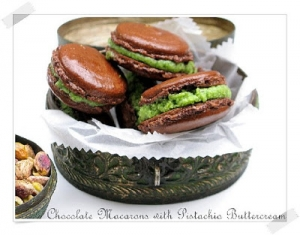 French chocolate macarons with pistachio buttercream