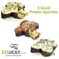 3 Colombe al gusto di pistacchio cioccolato e mandorla da 750g
