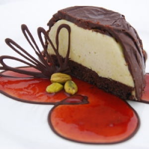 Pistachio chocolate ice cream bombe