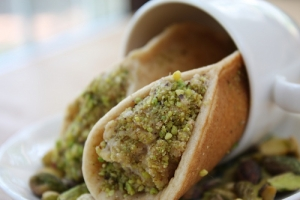 Pistachio from Bronte and fruit stuffed blinis
