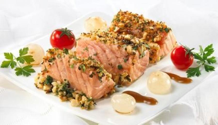 Ricetta Salmone Con Pistacchi.Salmone Ai Pistacchi Di Bronte In Fascia Di Porri