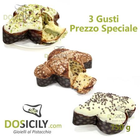 3 Colombe artigianali al gusto di pistacchio,cioccolato,fragole e amarena da 750g
