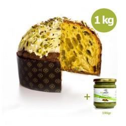 Panettone da 1kg al pistacchio + Barattolo crema al pistacchio da 190 gr